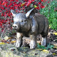Black & Gold Piglet Garden Sculpture