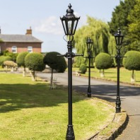 Black Concordia Hexagonal Lamp Post & Lantern Set 2.3m