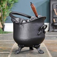 Black Iron Coal Bucket with Shovel