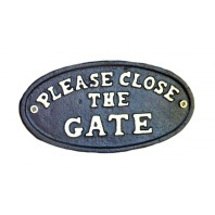 Black Iron 'Please Close The Gate' Sign