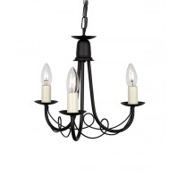 """Stalgate Court"" Black Loop Design Three Light Chandelier"