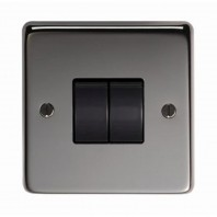 Black Nickel 10 Amp Double Light Switch