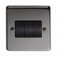 Black Nickel 10 Amp Triple Light Switch