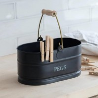 Black Peg Bucket with Wooden Handle