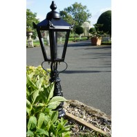 """Crown Riversham"" Black Victorian Patio Lamp Post Set 105cm"