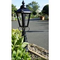 """Crown Riversham""  Small Black Victorian Patio Lamp Post Set"