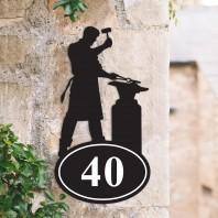Blacksmith Iron House Number Sign