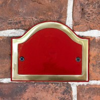 Blank Arched House Number Plaque - Claret & Brass