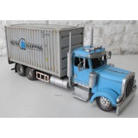 Blue Container Truck Scale Model