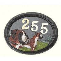 House Number - Hand Painted - Boxer Dog - House Sign