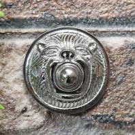 """Lambeth Hall""  Bright Chrome Round Lion Bell Push"