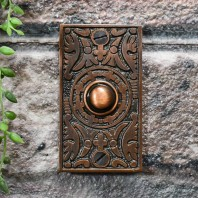 """""""Anderson"""" Antique Copper Rectangle Pattern Bell Push"""