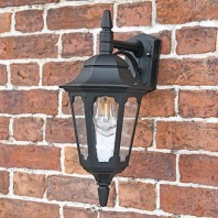 """Bridlington"" Large Top Fix Black Wall Lantern"