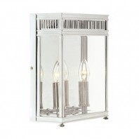 """Farstede Place"" Bright Chrome Twin Bulb Wall Lantern"
