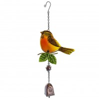 Brightly Coloured Glass Robin Hanging Bell