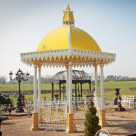 """Bromforth Bridge"" Large White & Yellow Gazebo With Roof"