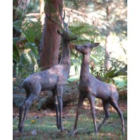 Bronze Effect Deer Sculptures