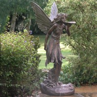 Bronze Effect Standing Fairy Sculpture