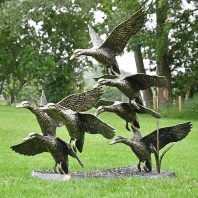 Bronze Finish Flying Duck Sculpture