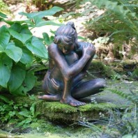 Bronze Girl Sitting Sculpture