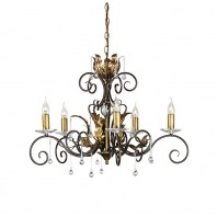 """Maresbeck Manor"" Bronze & Gold Oak Leaf Design Chandelier"