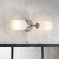 Brushed Nickel Bathroom Double Wall Light