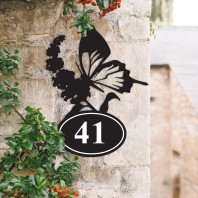 Butterfly Iron House Number Sign
