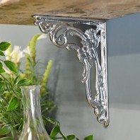"""Victorian Amalina"" Bright Chrome Ornate Scroll Bracket 18 x 14cm"