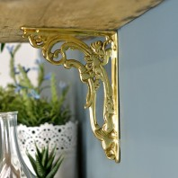 Ornate Scroll Polished Brass Brackets 18 x 14cm