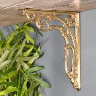 "Ornate ""Victorian Amalina"" Scroll Bracket Polished Brass 24cm x 19cm"