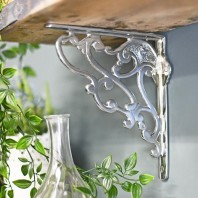 """Art Nouveau"" Polished Aluminium Shelf Bracket 21 x 19cm"