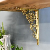 "Ornate ""Pittsburgh"" scroll effect brass shelf bracket 18 x 13cm"