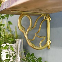 """Coscoroba"" Polished Brass Swan Bracket 17cm x 20cm"