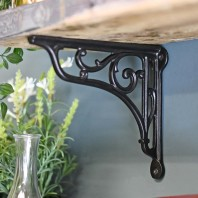 Black Cast Iron Shelf Bracket with Scroll 18 x 20cm