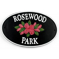 Cast Iron Effect Oval House Name Sign - Roses