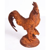 """Roosty"" Rustic cast iron rooster garden sculpture"