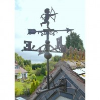 Large Rustic Iron Cherub Weathervane