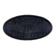 """Cast Iron """"Beware Of The Dog"""" Sign"""