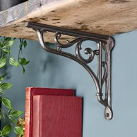 Cast Iron Shelf Bracket with Scroll - 9 x 10cm