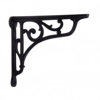 Black Cast Iron Shelf Bracket with Scroll 15 x 15cm