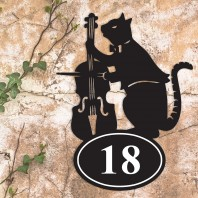 Cat & Fiddle Iron House Number Sign