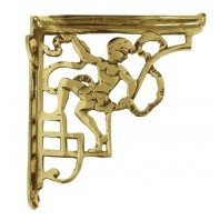 Polished brass Cherub Design Bracket 24 x 20cm
