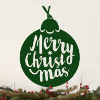 Christmas Tree Bauble Green Steel Wall Art