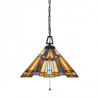 """""""Porthays Place"""" Coloured Glass 1940's Style Hangling Light"""