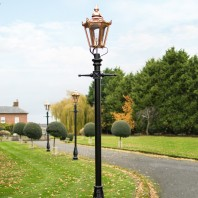"""Concordia"" Lamp Post & Hexagonal Lantern - Copper 3.2m"