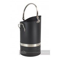 Contemporary Black Coal Hod with Pewter handles