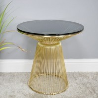 Contemporary Gold Finish & Glass Table