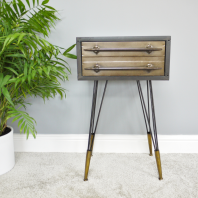 Contemporary Industrial Metal Bedside Table