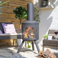 Contemporary Steel Garden Fireplace
