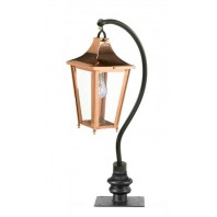 Copper Swan Neck Pillar Light and Lantern Set 83cm